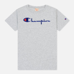 Женская футболка Champion Reverse Weave Script Logo Crew Neck Light Grey фото- 0