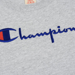 Женская футболка Champion Reverse Weave Script Logo Crew Neck Light Grey фото- 2