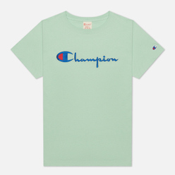 Женская футболка Champion Reverse Weave Script Logo Crew Neck Lime Green