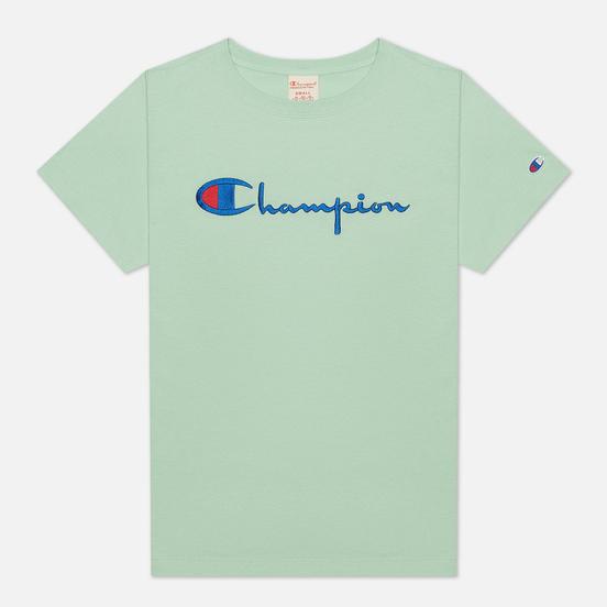 Женская футболка Champion Reverse Weave Script Logo Crew Neck Lime Green