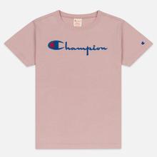 Женская футболка Champion Reverse Weave Script Logo Crew Neck Pale Mauve фото- 0