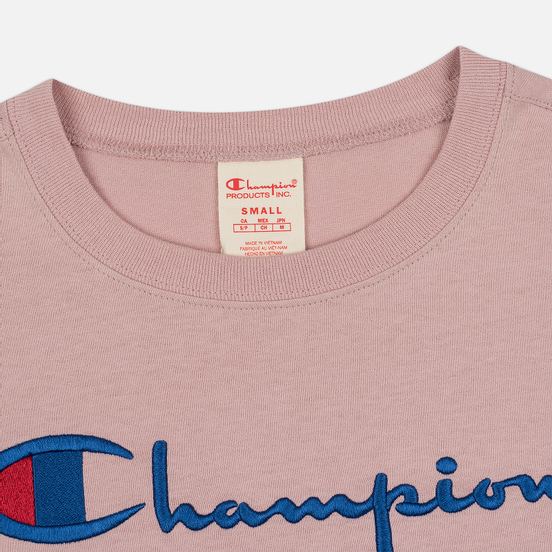 Женская футболка Champion Reverse Weave Script Logo Crew Neck Pale Mauve