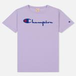 Женская футболка Champion Reverse Weave Script Logo Crew Neck Pastel Lilac фото- 0