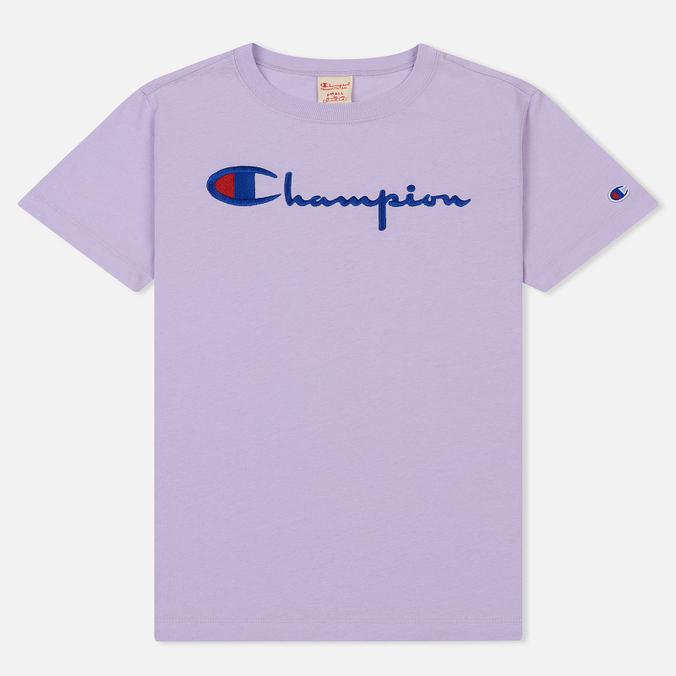 Женская футболка Champion Reverse Weave Script Logo Crew Neck Pastel Lilac