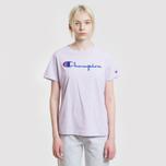 Женская футболка Champion Reverse Weave Script Logo Crew Neck Pastel Lilac фото- 1