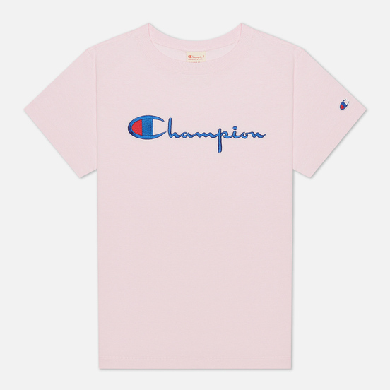 Женская футболка Champion Reverse Weave Script Logo Crew Neck Pink