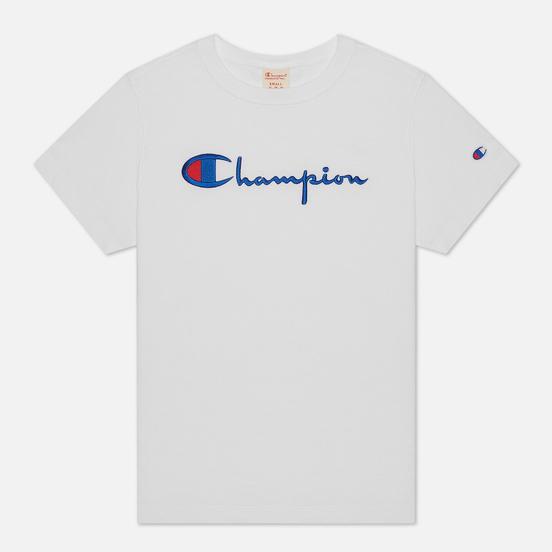 Женская футболка Champion Reverse Weave Script Logo Crew Neck White