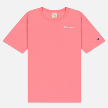Женская футболка Champion Reverse Weave Small Script Crew Neck Pink фото- 0
