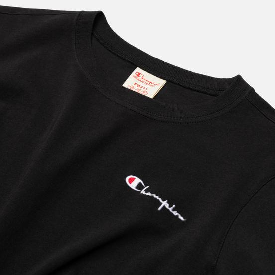 Женская футболка Champion Reverse Weave Small Script & Logo Sleeve Crew Neck Black