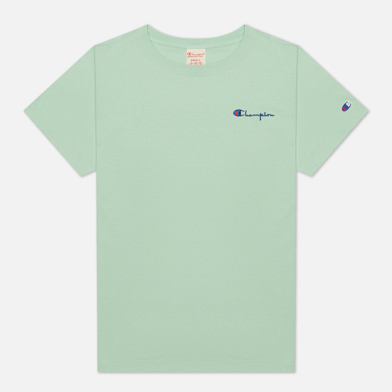 Женская футболка Champion Reverse Weave Small Script & Logo Sleeve Crew Neck Lime Green