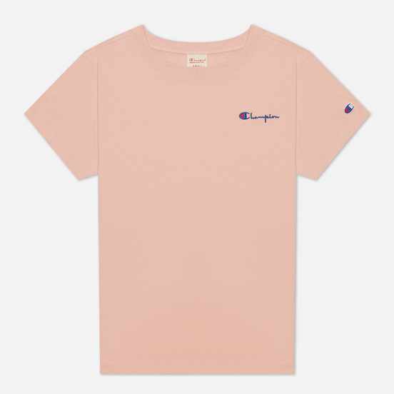Женская футболка Champion Reverse Weave Small Script & Logo Sleeve Crew Neck Peach