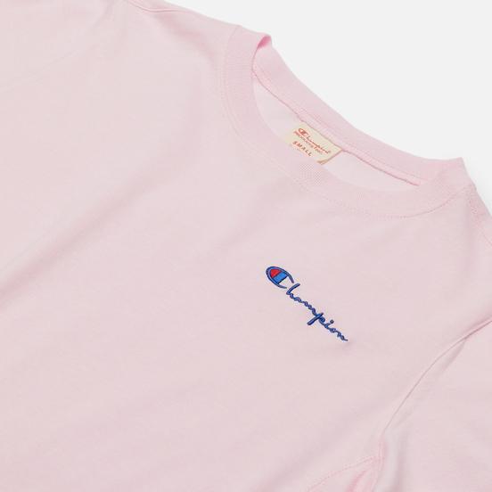 Женская футболка Champion Reverse Weave Small Script & Logo Sleeve Crew Neck Pink