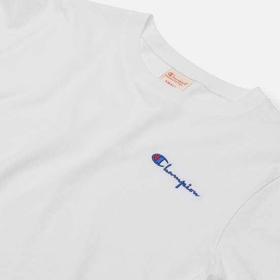 Женская футболка Champion Reverse Weave Small Script & Logo Sleeve Crew Neck White