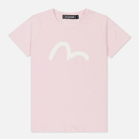 Женская футболка Evisu Evisukuro Brushstroke Seagull Print Pink