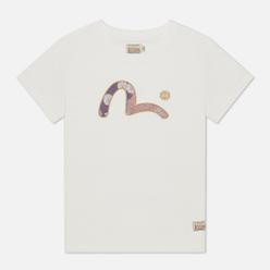 Женская футболка Evisu Heritage Brocade Inserted Seagull Off White