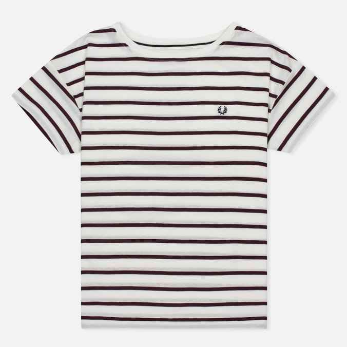 Женская футболка Fred Perry Classic Stripe Snow White/Red