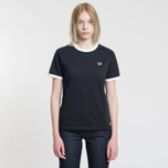 Женская футболка Fred Perry Laurel Sports Authentic Taped Ringer Black фото- 1