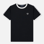 Женская футболка Fred Perry Laurel Sports Authentic Taped Ringer Black фото- 0