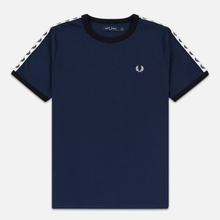 Женская футболка Fred Perry Laurel Sports Authentic Taped Ringer Dark Carbon фото- 0