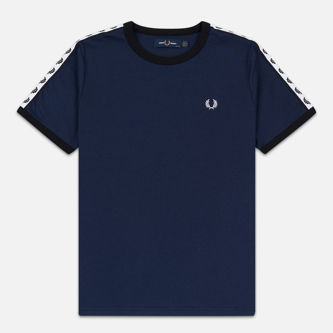 Женская футболка Fred Perry Laurel Sports Authentic Taped Ringer Dark Carbon