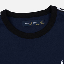 Женская футболка Fred Perry Laurel Sports Authentic Taped Ringer Dark Carbon фото- 1