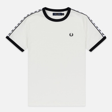 Женская футболка Fred Perry Laurel Sports Authentic Taped Ringer Snow White фото- 0