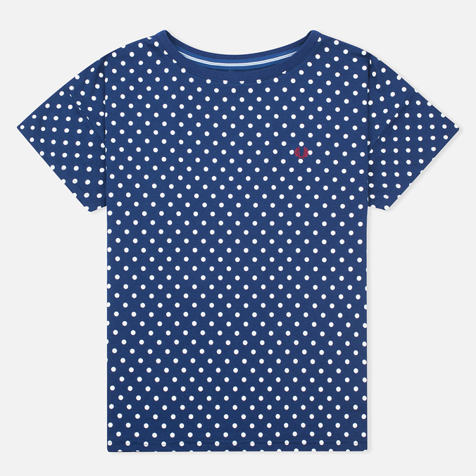 Fred Perry Polka Dot Women's T-shirt Medieval Blue