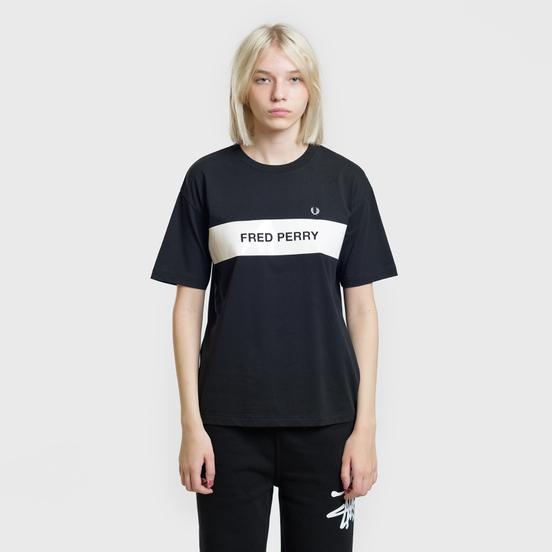 Женская футболка Fred Perry Printed Panel Black
