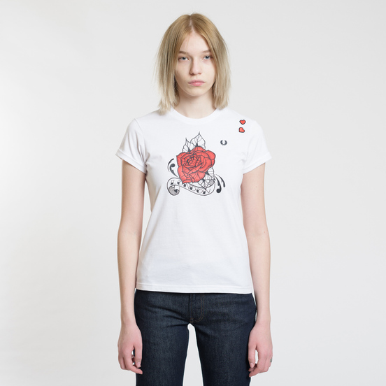Женская футболка Fred Perry x Amy Winehouse Rose Print White