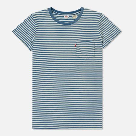 Женская футболка Levi's The Perfect Pocket Faded Indigo Cloud Dancer Stripe Blue