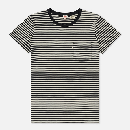 Женская футболка Levi's The Perfect Pocket Obsidian Cloud Dancer Stripe