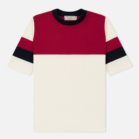 Женская футболка Maison Kitsune Color Block Ecru/Red