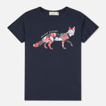 Maison Kitsune Flower Fox Women's T-shirt Navy photo- 0