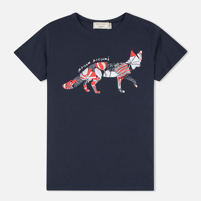 Maison Kitsune Flower Fox Women's T-shirt Navy