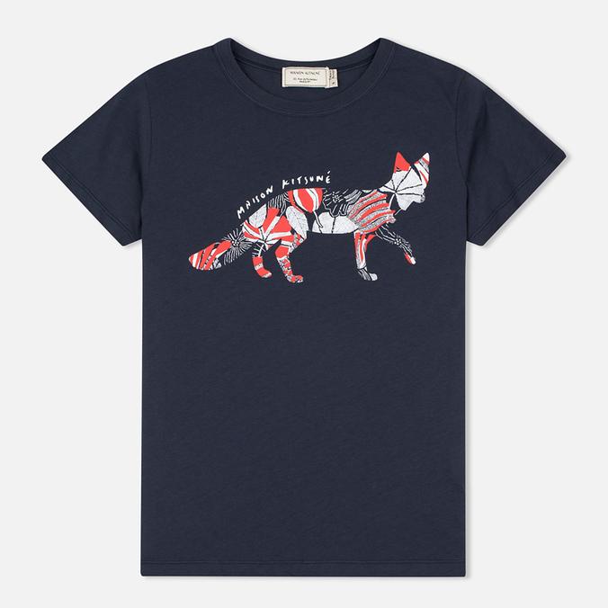 Женская футболка Maison Kitsune Flower Fox Navy