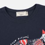 Женская футболка Maison Kitsune Flower Fox Navy фото- 1