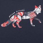 Женская футболка Maison Kitsune Flower Fox Navy фото- 3