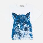 Женская футболка Maison Kitsune Fox Brush Blue фото- 0