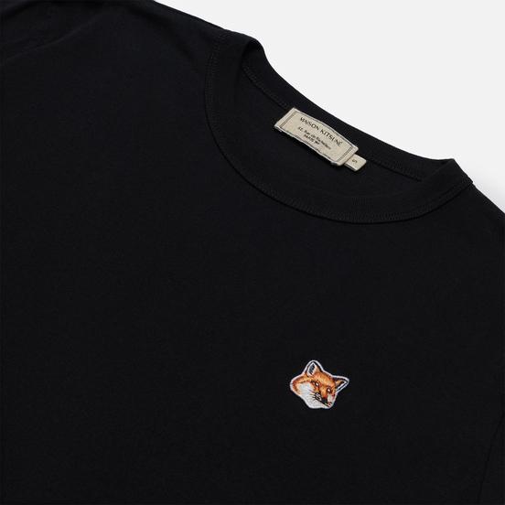 Женская футболка Maison Kitsune Fox Head Patch Black