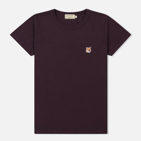 Женская футболка Maison Kitsune Fox Head Patch Burgundy