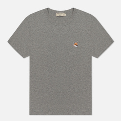 Женская футболка Maison Kitsune Fox Head Patch Grey Melange