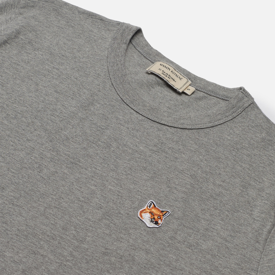 Женская футболка Maison Kitsune Fox Head Patch Grey Melange