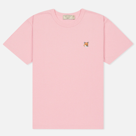Женская футболка Maison Kitsune Fox Head Patch Pink
