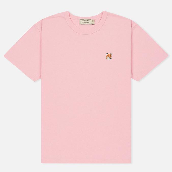 Женская футболка Maison Kitsune Fox Head Patch Pink