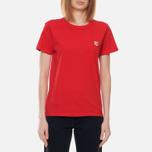 Женская футболка Maison Kitsune Fox Head Patch Red фото- 2
