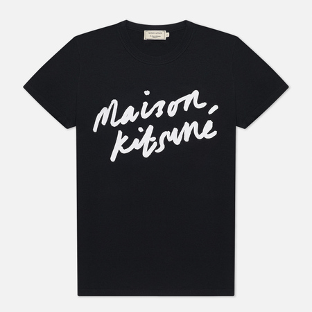 Женская футболка Maison Kitsune Handwriting Black