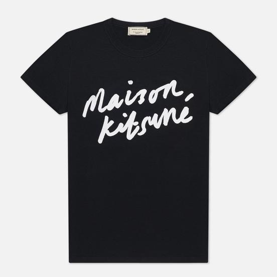 Женская футболка Maison Kitsune Handwriting Black