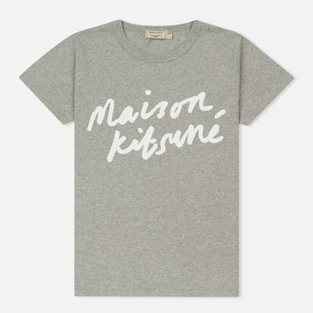 Женская футболка Maison Kitsune Handwriting Grey Melange