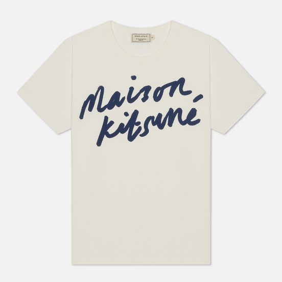 Женская футболка Maison Kitsune Handwriting Latte