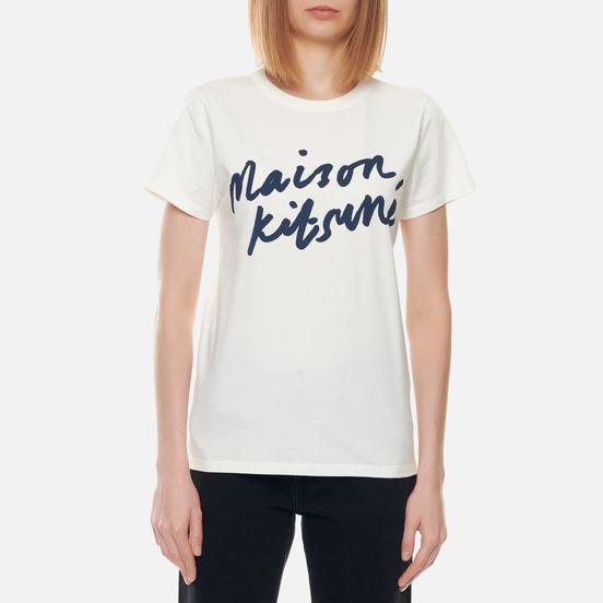 Женская футболка Maison Kitsune Handwriting Latte